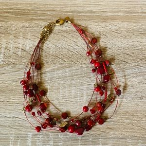 Chico's Red Beaded Multiple Strand Necklace